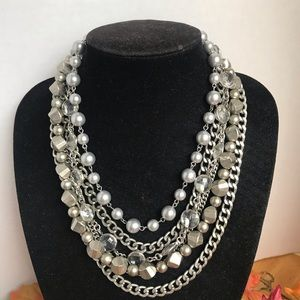 LOFT Multi Strand Layered Necklace Pearls & Beads